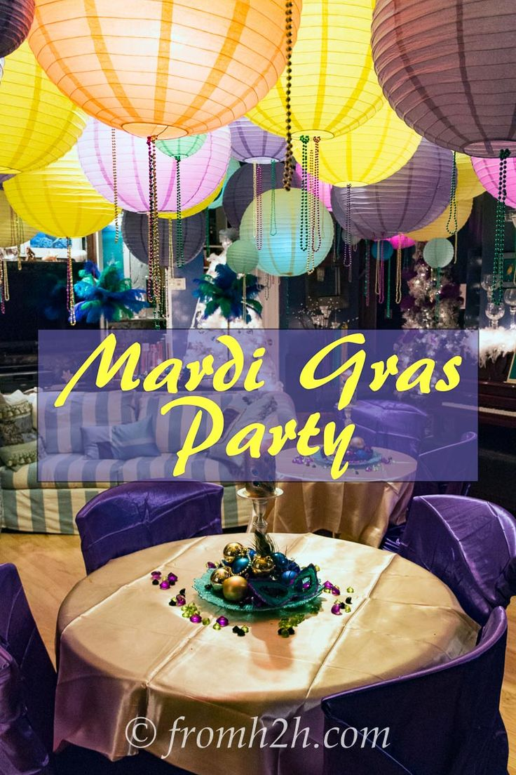 Mardi Gras Party | Wondering what food, drinks and decorations to do for a Mardi Gras Masquerade Party?  This is an actual party and has lots of great ideas!