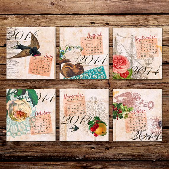 SALE! 2014 Vintage Whimsy Calendar | Printable files for a CD Jewel Case frame, for your desk top | Instant digital download