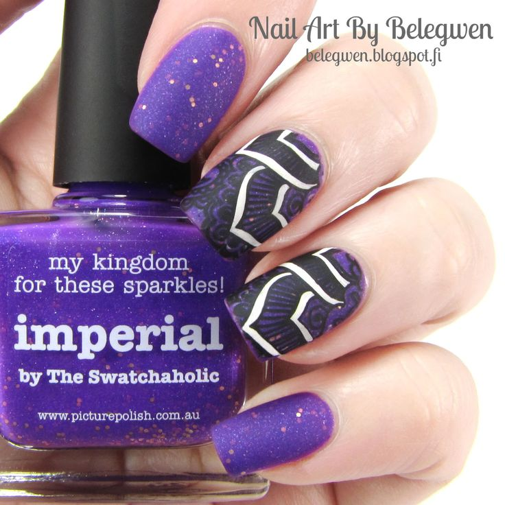 Nail Art By Belegwen: Picture Polish Imperial with stamping decals