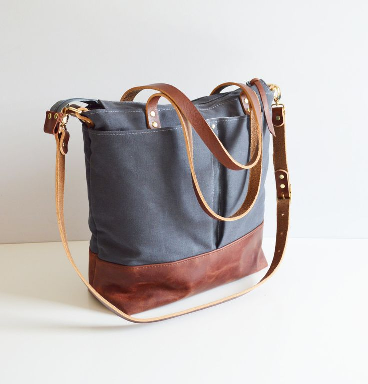 Grey waxed canvas and Russet leather diaper bag nappy bag tote bag by ForestBags on Etsy https://www.etsy.com/listing/267614313/grey-waxed-canvas-and-russet-leather