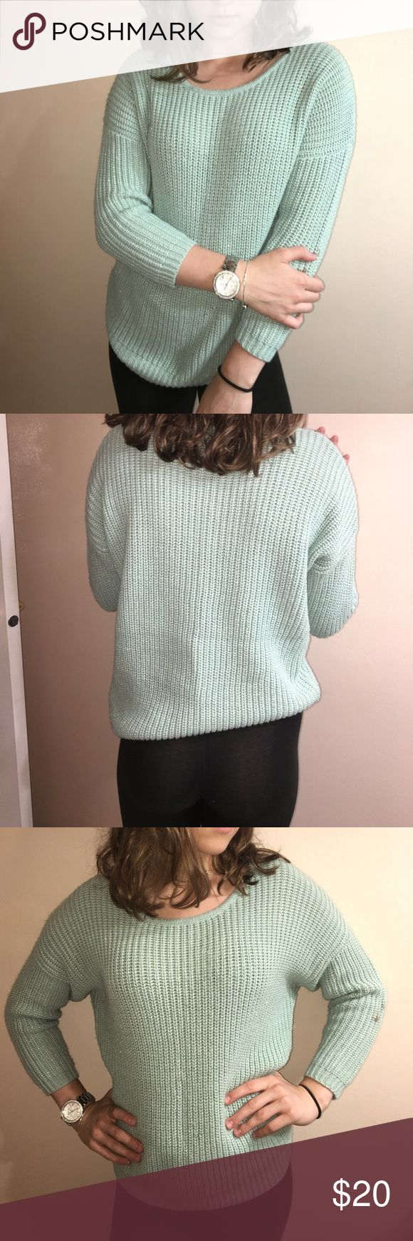 Turquoise sweater Super cute and warm. Unique color. Offers welcome XO Sweaters Crew & Scoop Necks