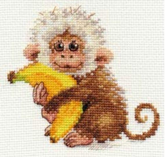 $15 KIT ONLY - Cross Stitch Kit by Alisa - Monkey cross stitch kit! Create It…