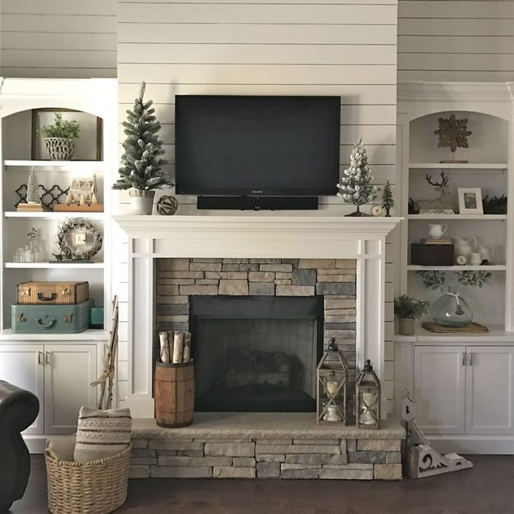 Stone Fireplace With Built In Cabinets: How To Style Simple Book Shelves