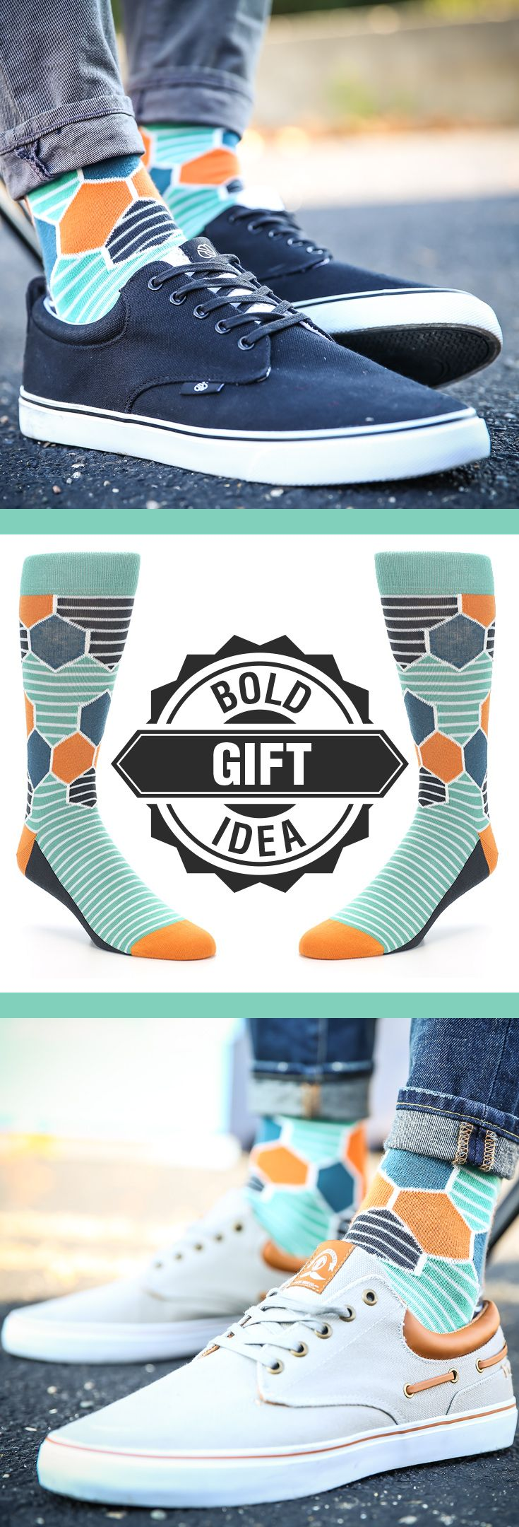 One of our most unique designs from this past year, the HexaStripes offer a seamless transition from stripes on the foot to hexagons on the ankle. Complementary colors of teal and orange alternate to give the socks a splash of bold while still staying stylish. Check out these socks and more.