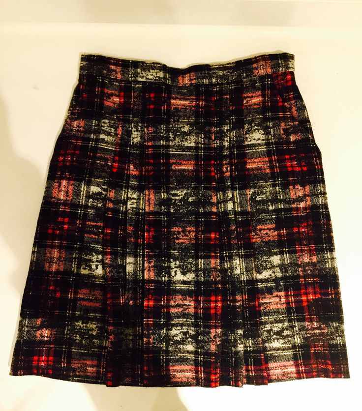 Scottish check print mini skirt 100% wool