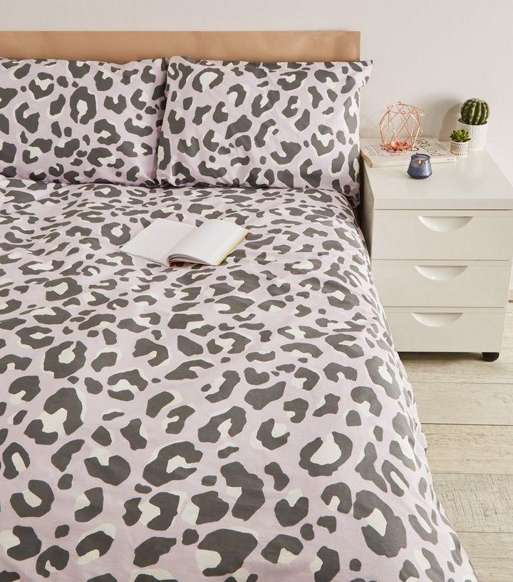 Lilac Leopard Print Cotton Double Duvet Set New Look Duvet Sets Double Duvet Set Duvet Bedding Sets