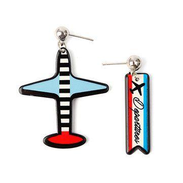 Asymmetric Stripe Plane Hip Hop Earrings Personality Earrings