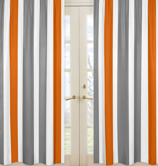 Wonderful White, Orange And Gray Stripe 84 Inch Curtain Panel Pair
