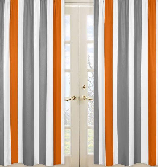 White Orange And Gray Stripe 84 Inch Curtain Panel Pair