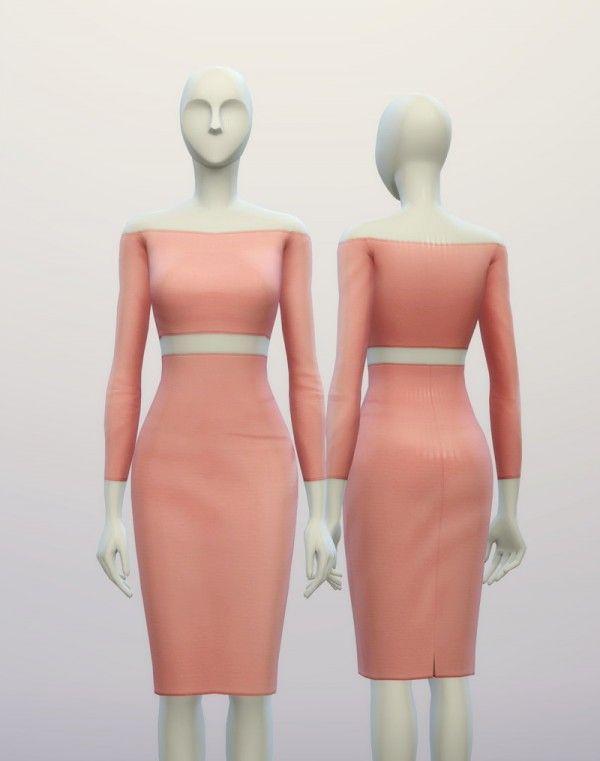 Rusty Nail: Basic High Waist dress • Sims 4 Downloads