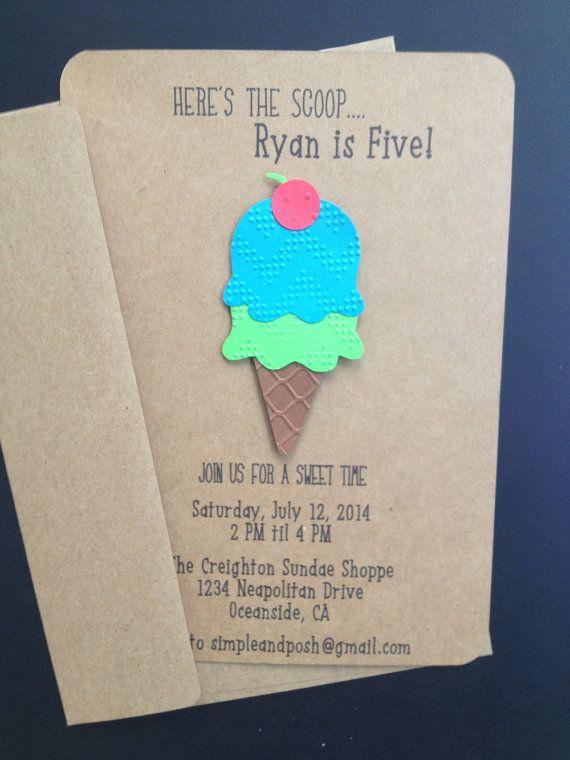 Ice Cream Cone Invitations for a Boy Custom Made by SimpleandPosh