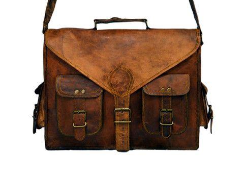 """Vintage Leather Laptop Bag, Messenger Bag for Men & Women. 11"""" x 15"""" x 4.5"""""""