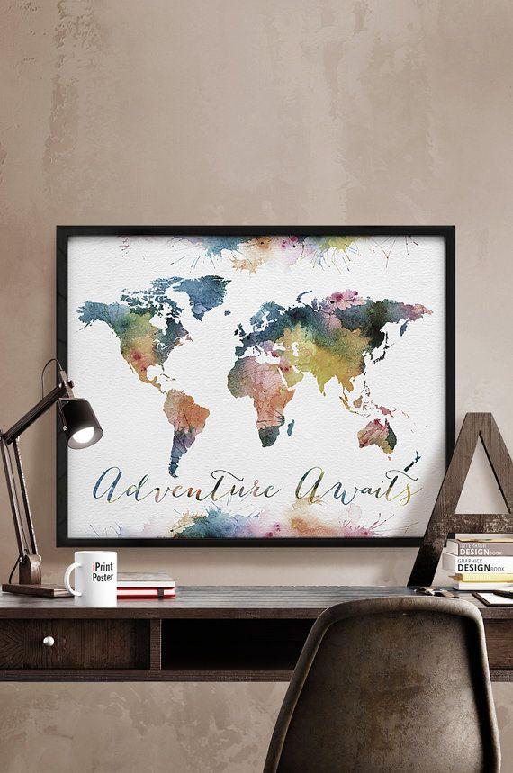 Aventure vous attend, grande mappemonde, mappemonde aquarelle, imprimer carte mondiale, affiche carte monde, carte de voyage, art, décoration, iPrintPoster de mur.