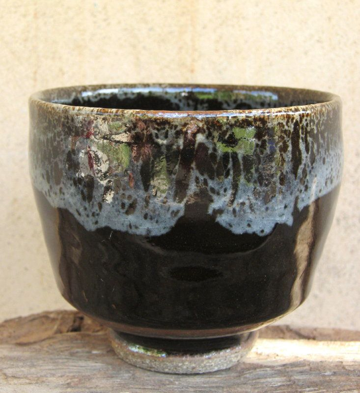 Tea Bowl - Tenmoku glaze with rim dipped in nuka glaze.