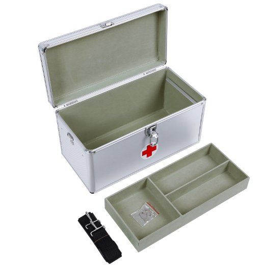 Songmics Portable First Aid Box Large 40 x 20.5 x 22.5 cm alu Crossshoulder with handle 2 layers JBC36S