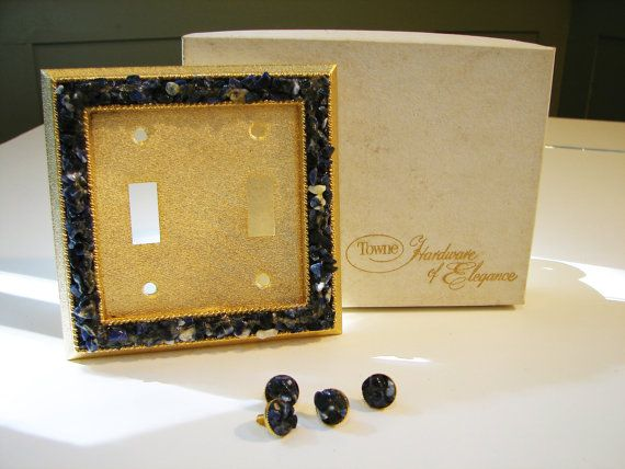 1960's Genuine Blue Quartz Metallic Gold Double Light