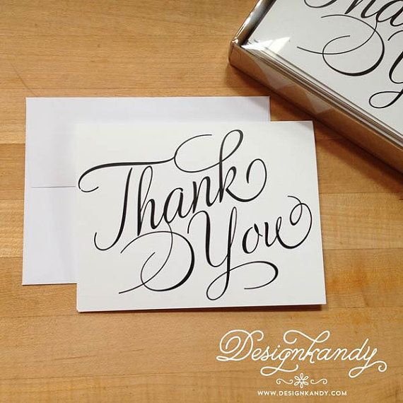 Thank You Card Set Black On White Calligraphy Script By