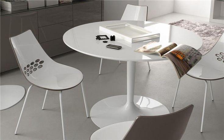 Table ronde blanche r tro pied central de la marque calligaris art d co cdc design en 2019 - Table ronde cuisine pied central ...