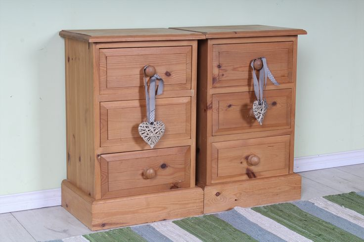 £135 Matching pine bedside tables each with 3 drawers sturdy well made solid pine throughout with age marks - http://www.sussexpineonline.co.uk/
