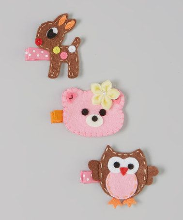 Take a look at this Brown & Pink Forest Friend Clip Set by Snuggle Bug Kidz on #zulily today!