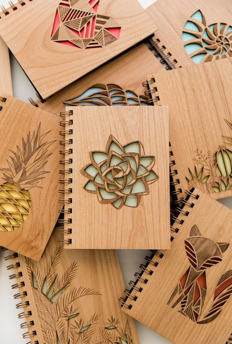 Mint Green Succulent Wood Journal [Blank Pages Laser Cut Notebook / Plant Lovers / Gratitude]