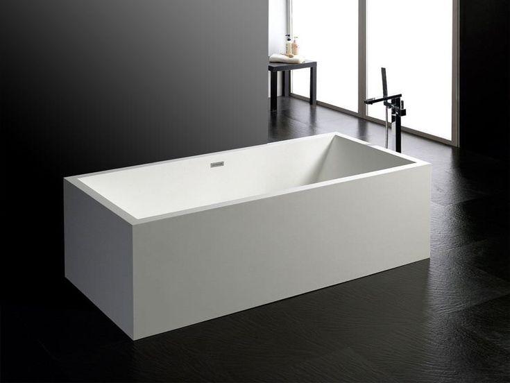 Milano - freistehende Mineralguss-Badewanne - Weiß matt oder glänzend - 190x90x60 - eckig - Modern - Duo