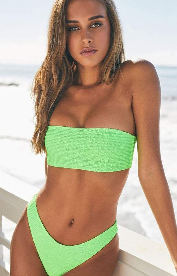 6649bdd7023 LA Hearts Neon Green Scrunch Bandeau Bikini Top | Swimsuits in 2019 ...