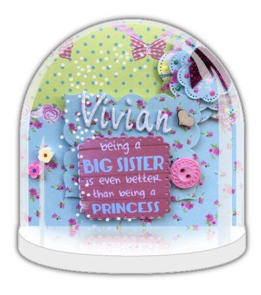 personalised big sister gift, Big sister to be, big sister little sister, big sister Snow globe, Personalised snow globe, baby shower gift