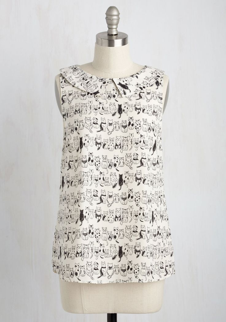 To the Nines Top in Kitties, #ModCloth