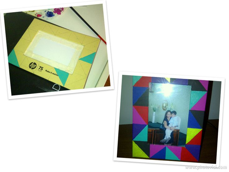 Marco de fotos pintado en patron multicolor :)