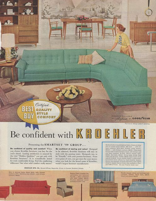 Kroehler Mid Century sectional ad, 1959 -- does anyone remember how scratchy some of those couches were? Early days of synthetics?
