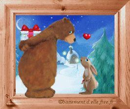 gif animé amour saint valentin un ours brun apporte un cadeau à son amoureux de petit lapin dans un village enneigé