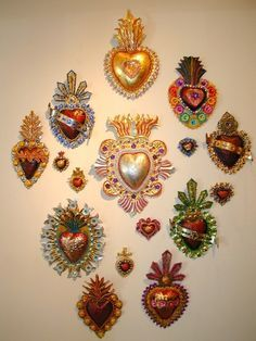 Collection of tin hearts - Mexican Folk Art-Collections - MAINLY-MEXICAN - to add to your collection, visit www.mainlymexican... #Mexican #Mexico #folkart #art #antique #collectible