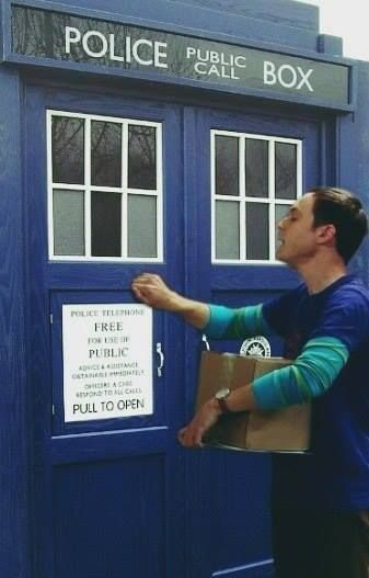 *knock knock knock* Doctor? *knock knock knock* Doctor? *knock knock knock*...-->you know how Sheldon is always getting restraining orders from his idols and things like that? I can totally see something like that happening with the Doctor