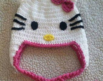 Items op Etsy die op Crochet Cat Hat, cat hat with pink flower, cat hat with red flower, hats for girls, baby hat, crochet hats, hats lijken