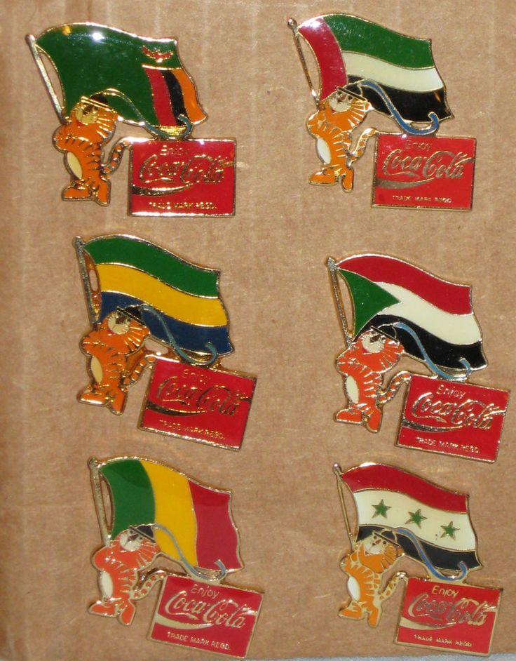 1988 SEOUL OLYMPIC MASCOT HODORI FLAGS PARTICIPATING NATIONS COCA COLA 6 PIN SET  | eBay