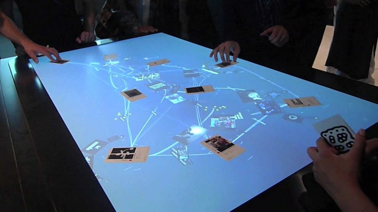 Mæve installation - Putting the cards on the interactive surface design, visitors can explore an organic network of projects, people and media. Resting them you can open a virtual menu developed graphically. - Interactive Table