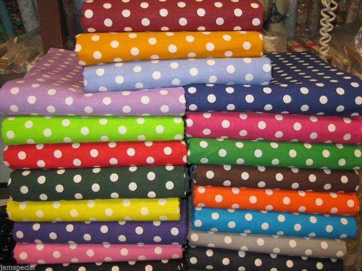 "Polka Dot Fabric 1 yd UPick green blue purple black pink yellow red 3/8"" Dot #SpecialPrint"