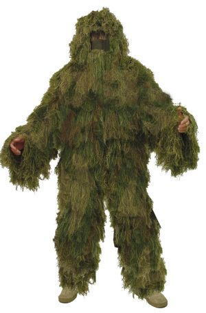 "Moss suit. Toxic Avenger, American Tribal costume, or gun accessory? - CamoNettingStore.com - ""Fat Boy"" Sniper Suit, $99.99 (http://www.camonettingstore.com/ghillie-suits/fat-boy-sniper-suit/)"