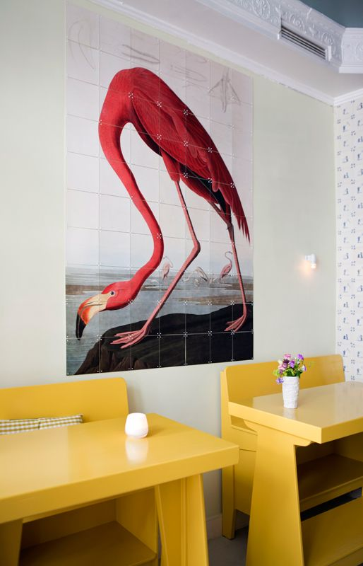 IXXI wall decoration made with a painting of a flamingo from the Natural History Museum in London. The IXXI in this example will cost $92.30 (Image bank, 80 x 100 cm). #ixxi #ixxidesign