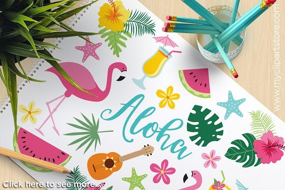 50% OFF - Tropical Flamingos / Aloha by MyClipArtStore on @creativemarket