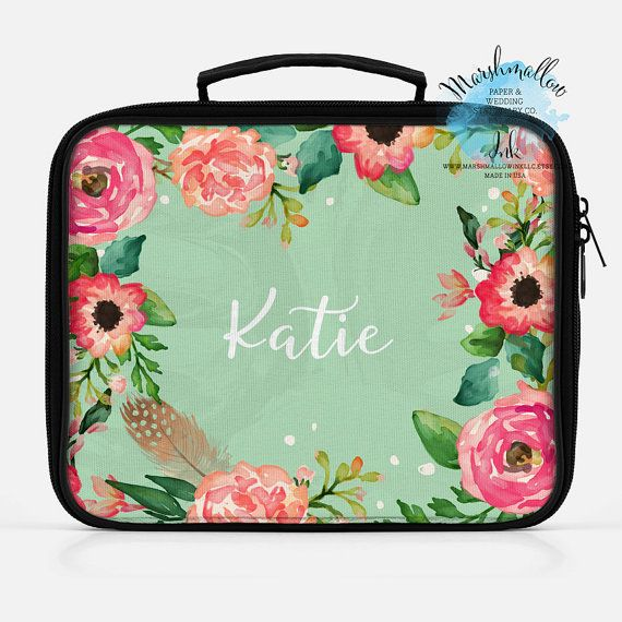 Christmas Gift Insulated Lunch Bag Box Monogram Personalized