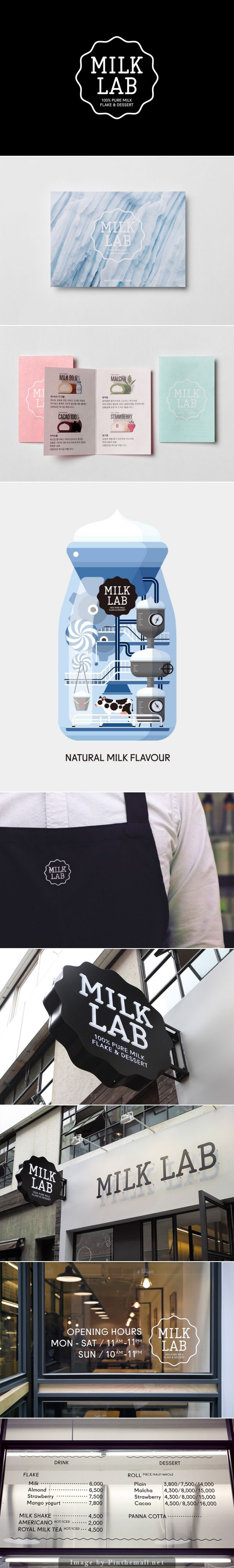 Milk Lab Branding by Studio FNT.  Love the cohesive design throughout the Milk Lab. From the aprons to the exterior sign.