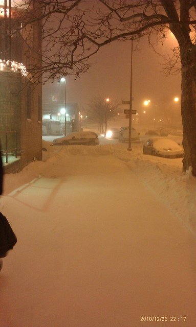NYC Blizzard 2010. Silent snowy, cold night