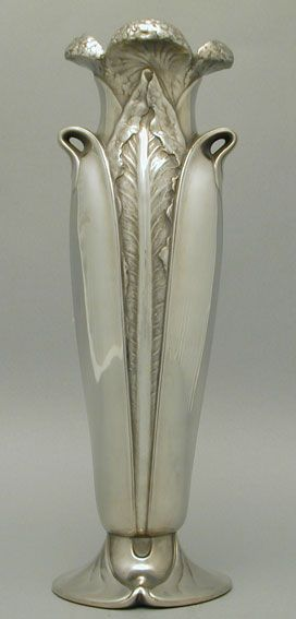 Christoffle Art Nouveau Pewter Vase. 1905