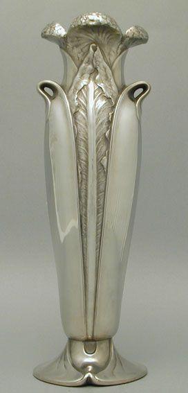 Christoffle Art Nouveau Pewter Vase. 1905