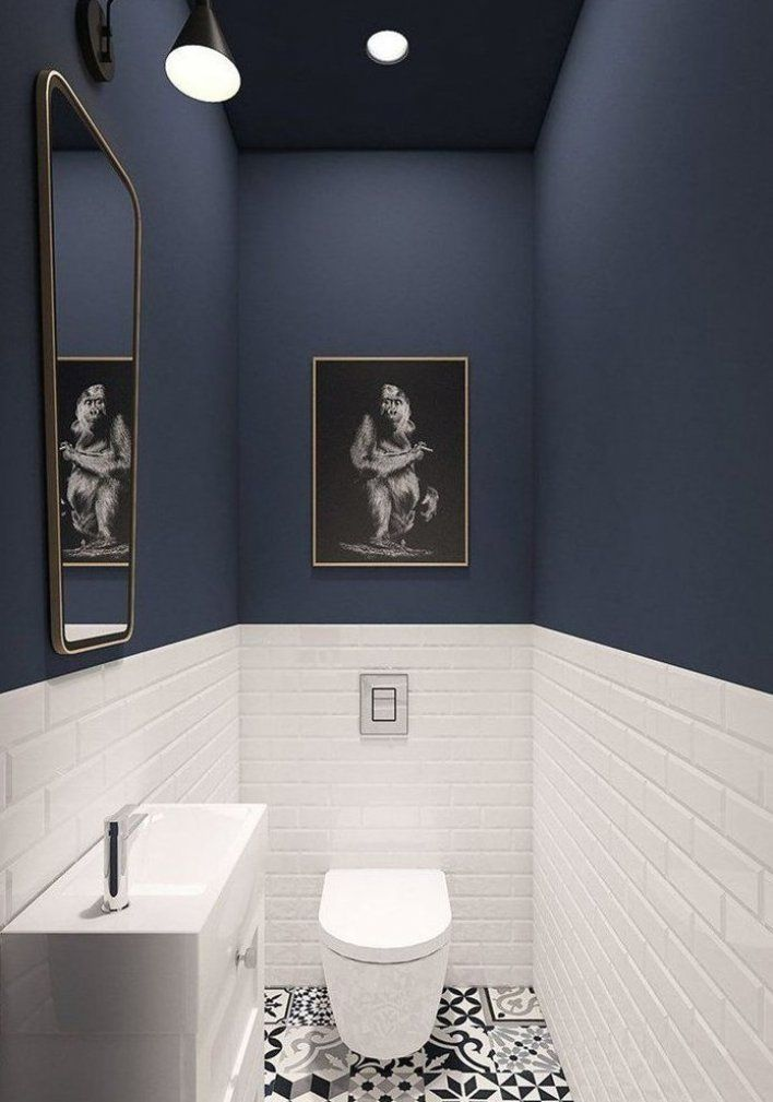 Stylish Toilet With Dark Blue Walls And White Metro Tiles 35 Ideas For Blue Wall Colour In Home Decoration A Blue Painted Walls Wall Colors Dark Blue Walls