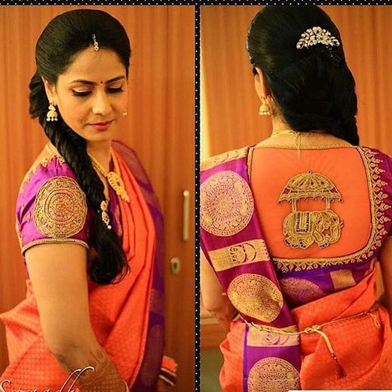23. Elephant Embroidery Design For Blouse Back Neck