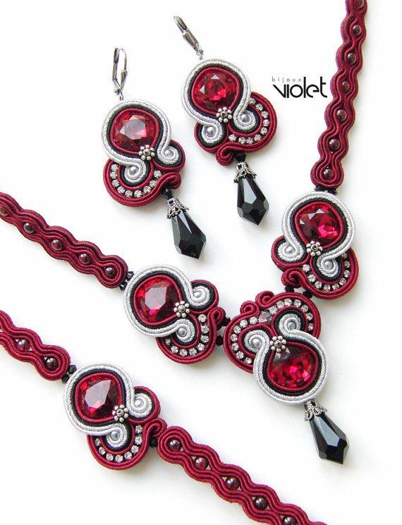 Soutache Pendant Ruby True by Violetbijoux on Etsy