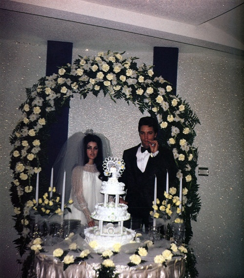 The wedding of Elvis and Priscilla Presley at the Aladdin Hotel, May 1, 1967.